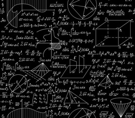 Mathematical vector seamless pattern with formulas, plots, functions, equations and algebraic and geometric figures