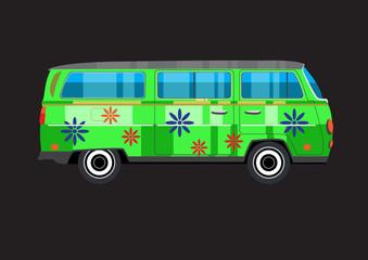 Hippie retro flower power Van