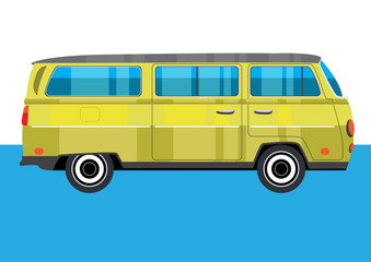 Hippie retro yellow Van