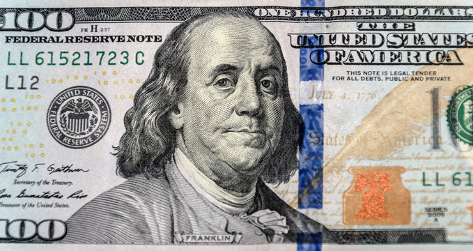 Close up of new one hundred dollar bill