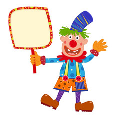 Clown Holding Sign - Cartoon clown holding a blank sign. Eps10