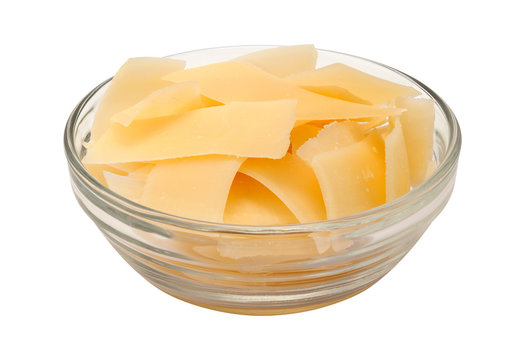 Shaved Parmesan Cheese in a glass bowl