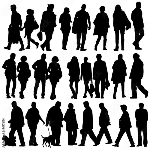 """people silhouette walking vector"" Stock image and royalty ..."