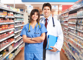 Doctor team pharmacist woman.