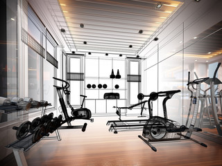 abstract sketch design of interior fitness room