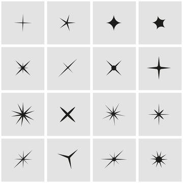 Vector black sparkles icon set. Sparkles Icon Object,  Sparkles Icon Picture, Sparkles  Icon Image - stock vector