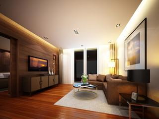 3d render of living ,3dwire frame render