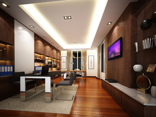 3d render of interior working room, wire frame