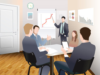 Businessmen discuss sales growth in the office chart Businessman shows on board plot sruppa employees at work, flet, vector office workers to discuss at the meeting, isolated, office interior