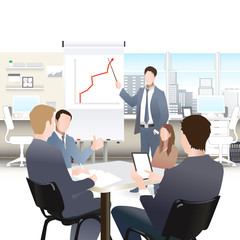 Businessmen discuss sales growth in the office chart Businessman shows on board plot Group employees at work, flet, vector office workers to discuss at the meeting, isolated, office interior