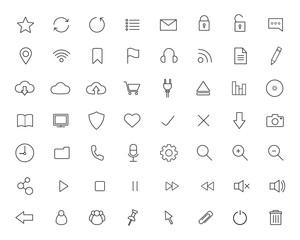 Digital linear icons set