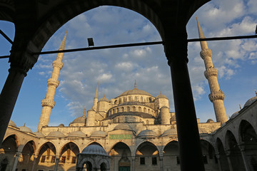 The Blue Mosque, shot from the courtyard.  Located in Istanbul, Turkey.  It was completed in 1616 by Sultan Ahmed I..