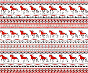 Seamless pattern with decorative elements of cosmogonic traditional folk art of northern region of Russia. Mezensky red horses. Illustration