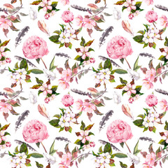 Peony flowers, sakura, feathers. Repeating floral background. Watercolor