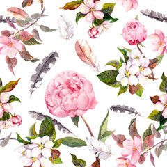 Peony flowers, sakura, feathers. Vintage seamless floral pattern. Watercolor