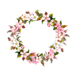 Frame wreath with cherry, apple, almond flowers blossom. Watercolor