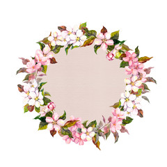 Border wreath with sakura flowers cherry, apple flower blossom. Watercolor card