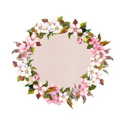 Border wreath with sakura flowers cherry, apple flower blossom. Watercolor card