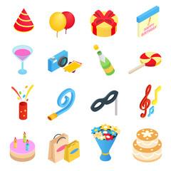 Birthday party isometric icons