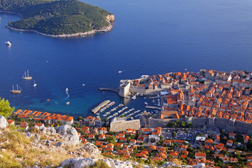 Dubrovnik old town viewed from a nearby hill.