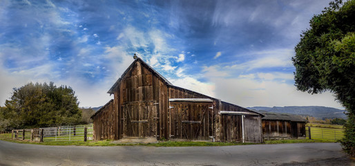 An Old Barn, Panoramic Color Image