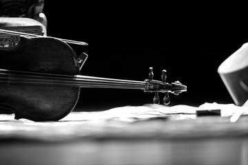 Still life with cello on the stage