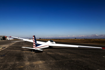 Glider Sitting On Runway Small Rural Airport