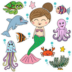 Mermaid with sea animals cartoon vector design, illustrator
