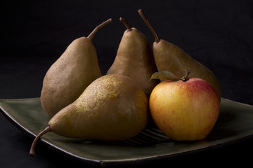 Still life with pears and apple