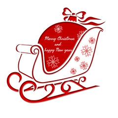 Christmas sleigh with Christmas ball - greeting card