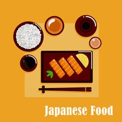 Japanese cuisine dinner with sashimi, sake and rice
