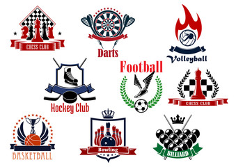Sports games emblems, icons and symbols