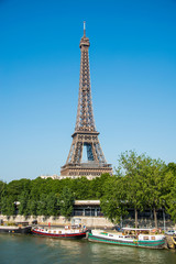 Eiffel tower on bright day