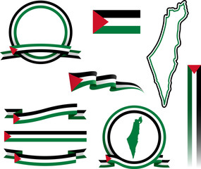 Palestine Banner Set Set of vector graphic ribbons and banners representing Palestine.