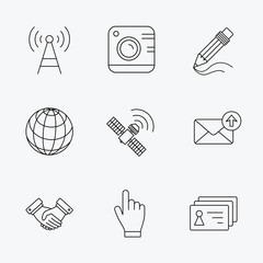 Handshake, contacts and gps satellite icons.