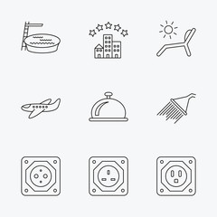 Hotel, swimming pool and beach deck chair icons.