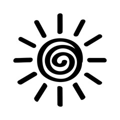 Hot summer sum scribble line art icon for apps and websites