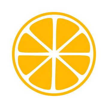 Lemon citrus half slice flat icon for apps and websites