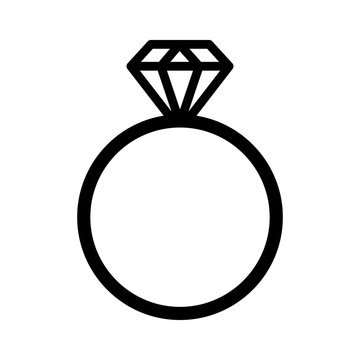 Diamond engagement ring line art icon for websites