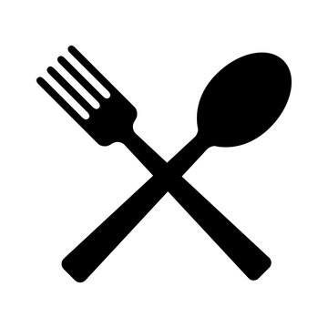 Spoon and fork for eating flat icon for apps and websites