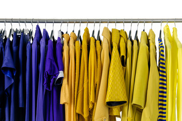 Set of Variety of casual female clothing on hangers