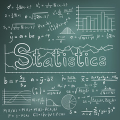 Statistic math theory formula equation doodle icon with graph chart and diagram in blackboard background, create by vector