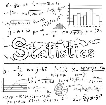 Statistic math formula equation doodle icon with graph chart diagram in white isolated background, create by vector