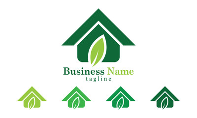 Green House Icon Logo Vector template With Five Colors Options