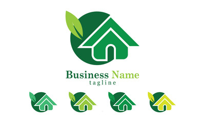 Green House Icon Logo Vector concept  With Five Colors Options
