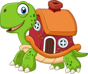 Cartoon funny turtle with shell house