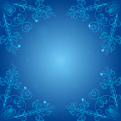 Frame with ornaments, blue background vector