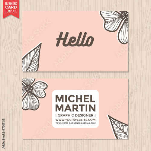Business Card Name Flower Background Pastel Color Template