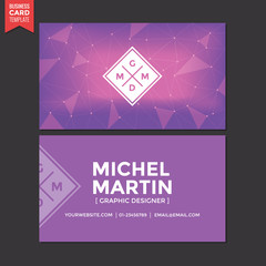 Business Card Name Abstract Purple Background Template