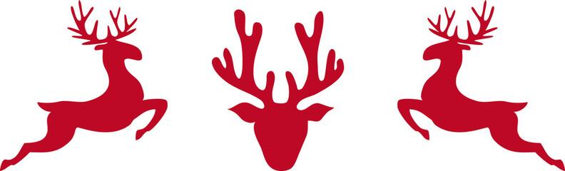 3 Rentiere in rot, frontal und seitlich
